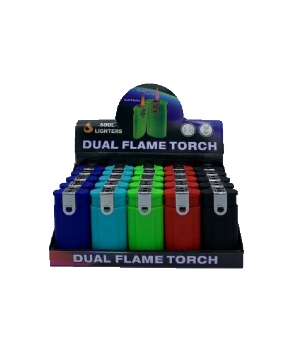 Dual Flame Torch Lighter 25CT Display Bo...